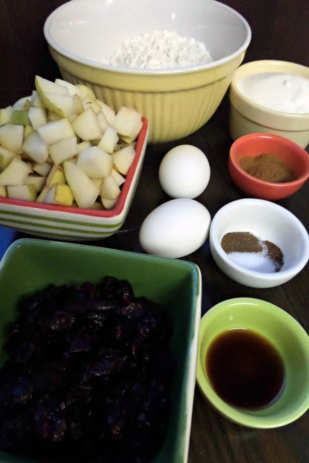 Chunky Cranberry Pear Bread Ingredients