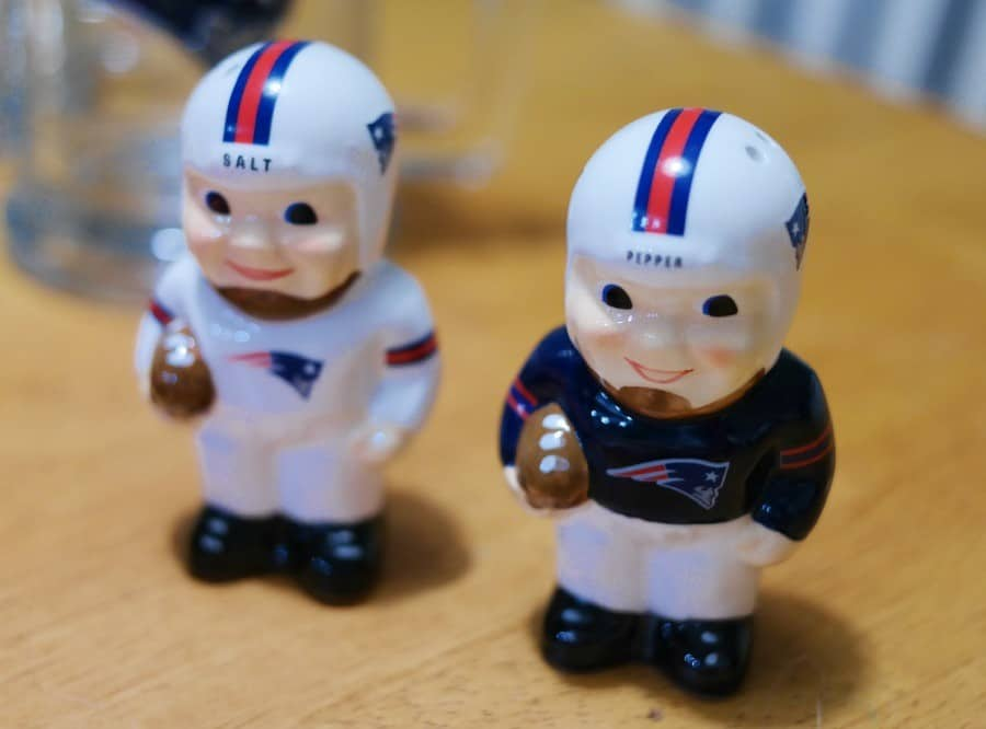 New England Patriots salt and pepper shakers