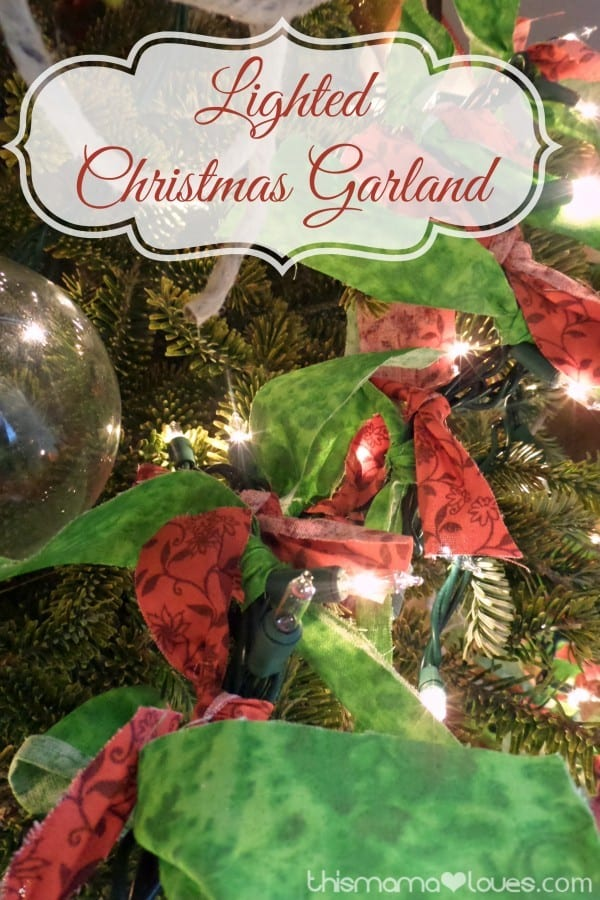 Lighted Christmas Garland With Fabric Scraps