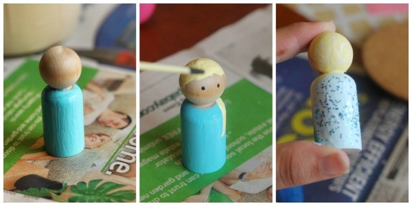 frozen peg doll elsa collage