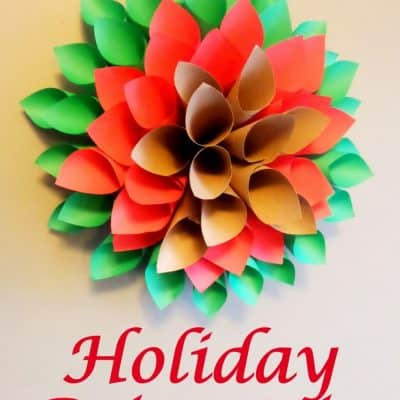 Holiday Poinsettia Paper Wreath Tutorial