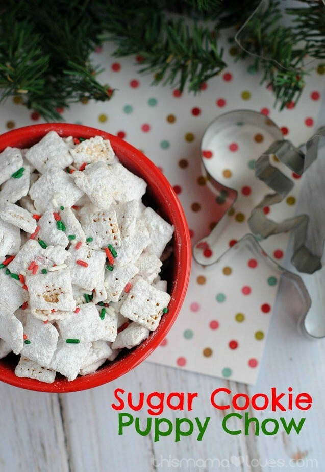 Sugar Cookie Puppy Chow from This Mama Loves featured on Belle of the Kitchen