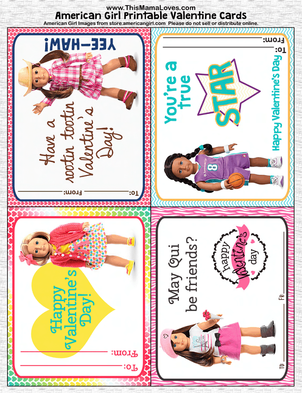 Diy American Girl Valentines Printables American Girl Induced Info