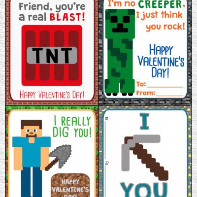 Printable Minecraft Valentines