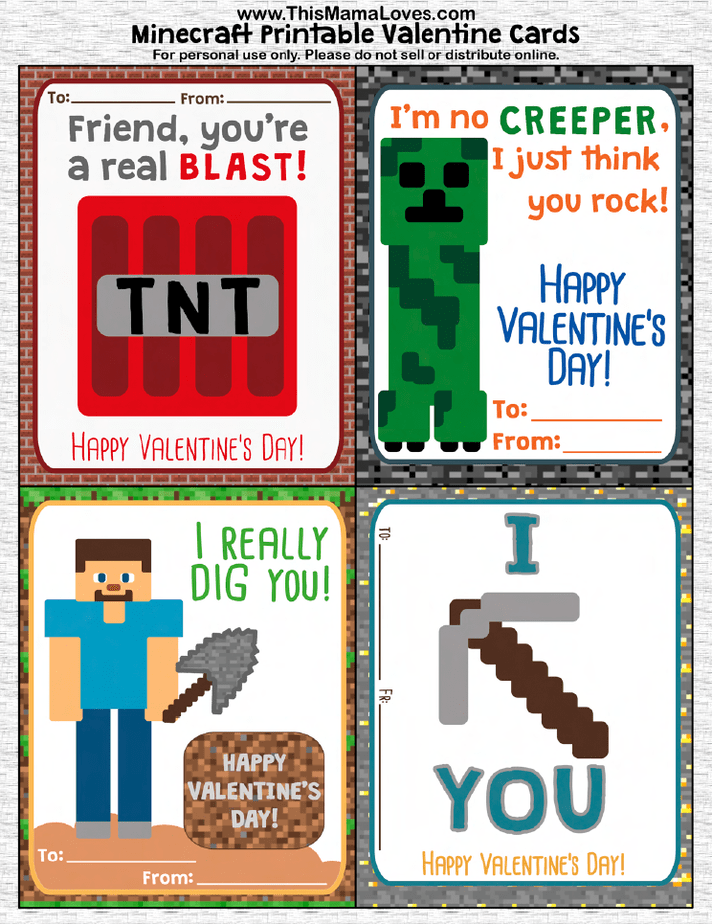 Printable Minecraft Valentines Cards
