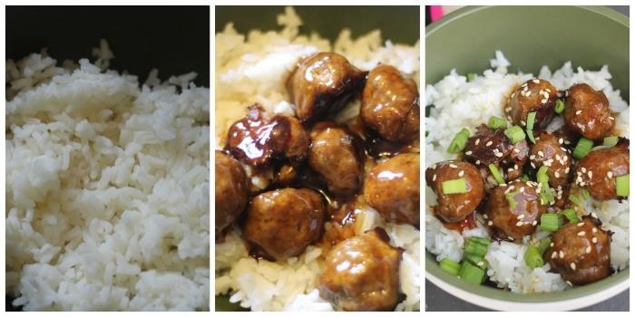 teriyaki meatball rice bowl