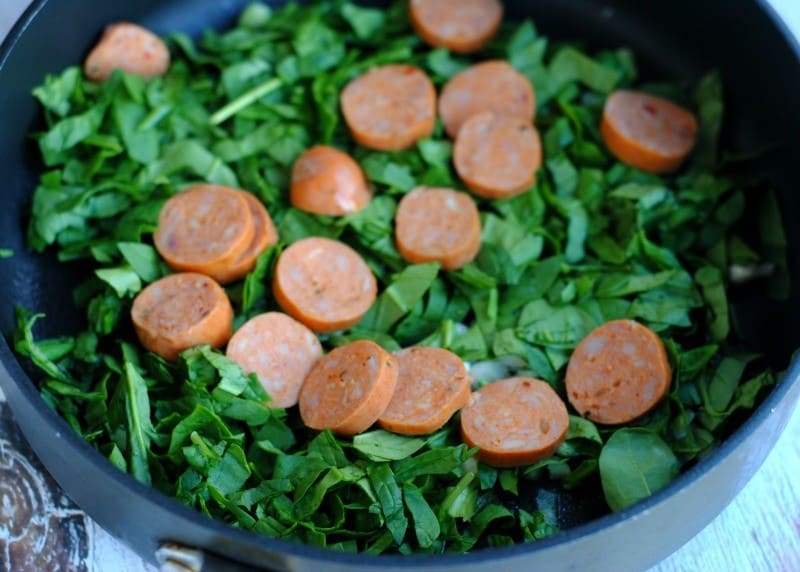 Quinoa Spinach and Chicken Sausage  during