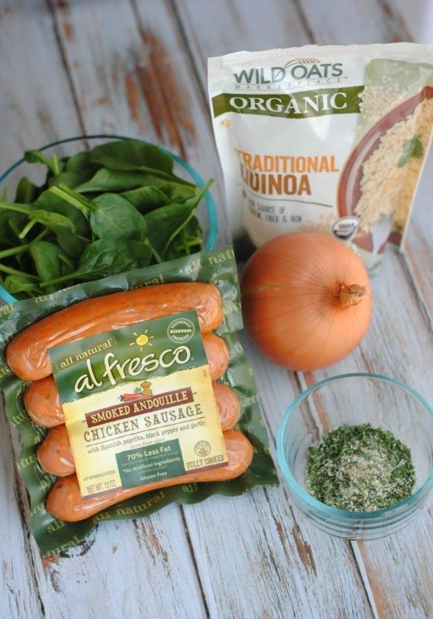 Quinoa Spinach and Chicken Sausage  ingredients