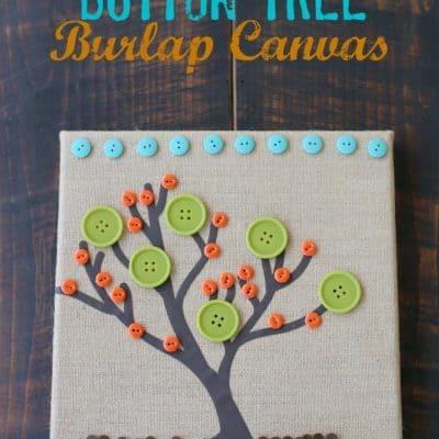 Button Tree Burlap Canvas