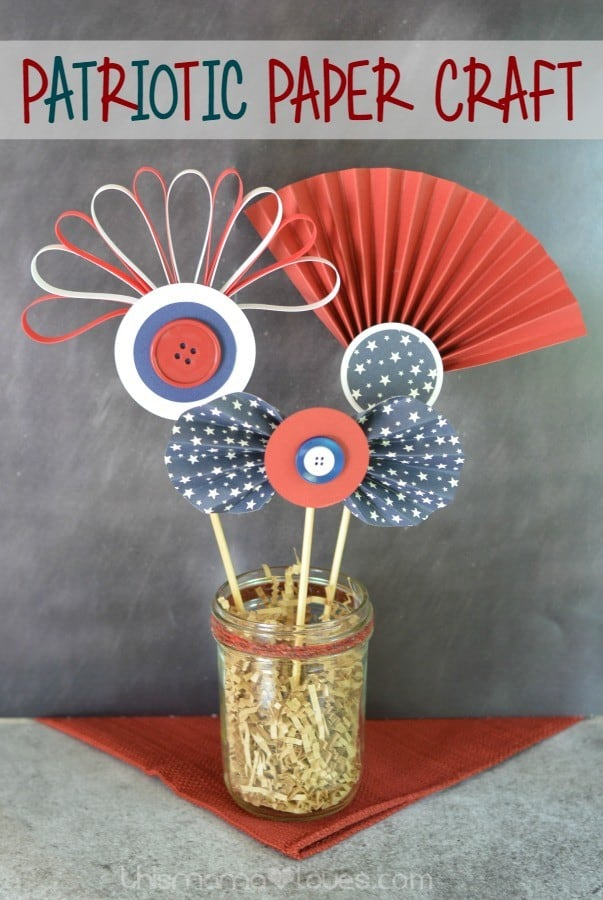 This patriotic paper craft can be done in very little time, especially since it's done with a glue gun, so no drying time. It looks great as a centerpiece or just a decoration and you can have a lot of fun with different colors and patterns for papers.