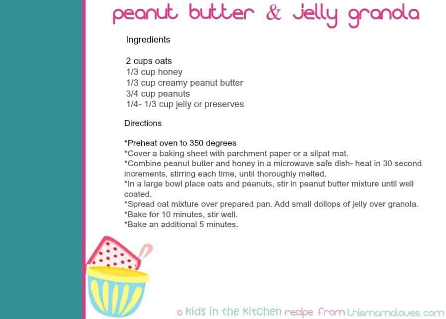 pbj granola recipe card