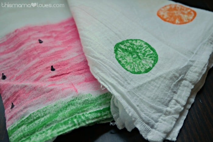 Citrus Stamped Tea Towels