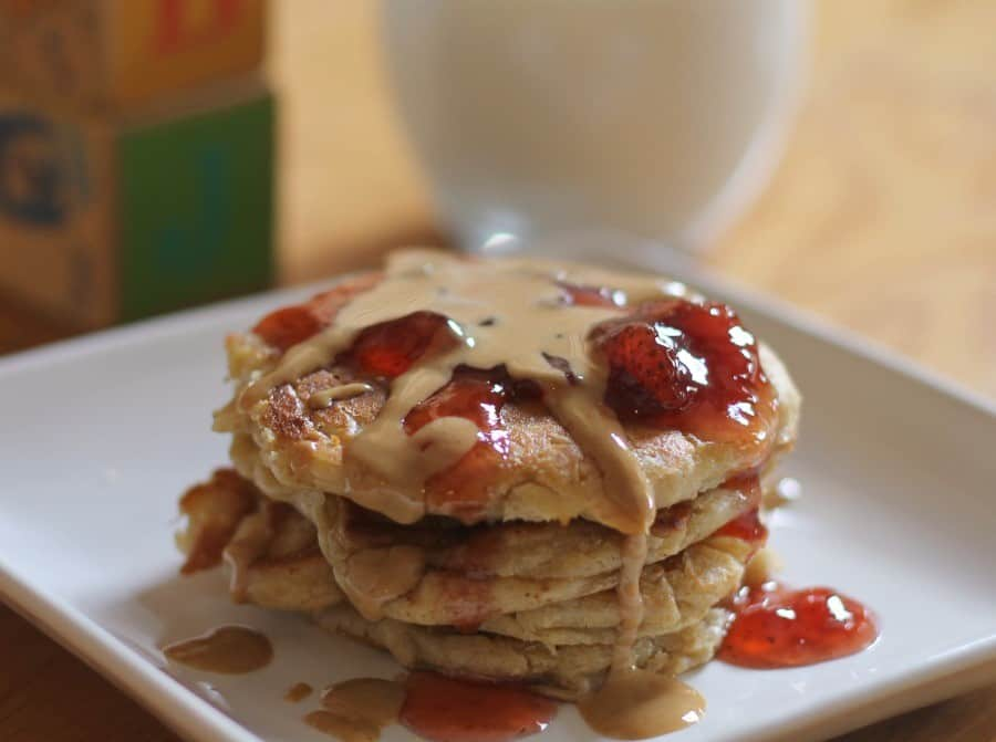 Peanut Butter and Jelly Pancakes | This Mama Loves