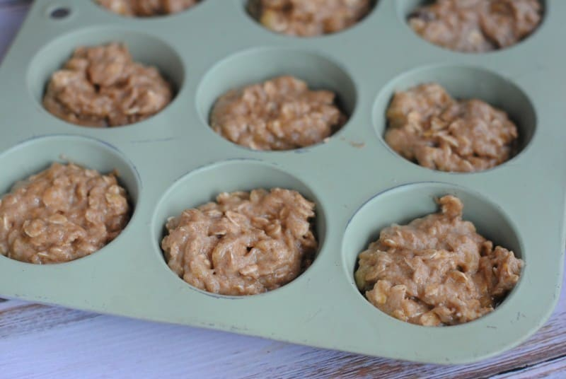 Oatmeal Banana Applesauce Muffins pre bake
