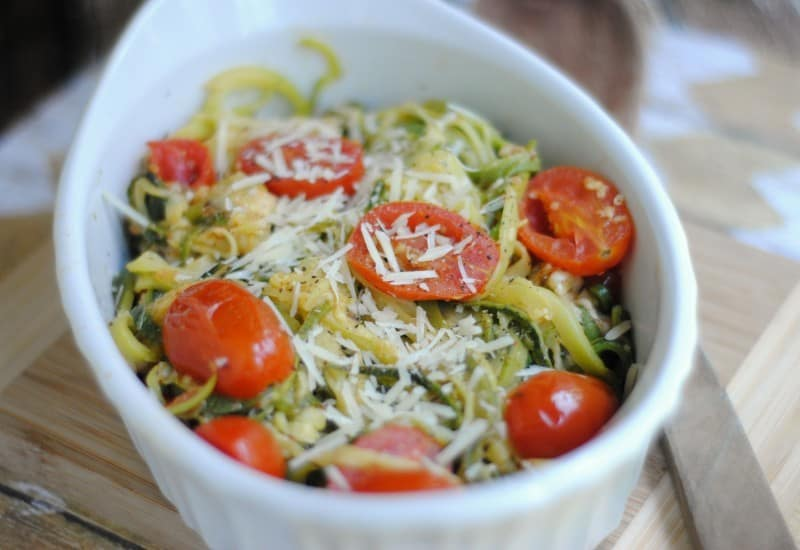 parmesan zoodles with tomatoes dinner