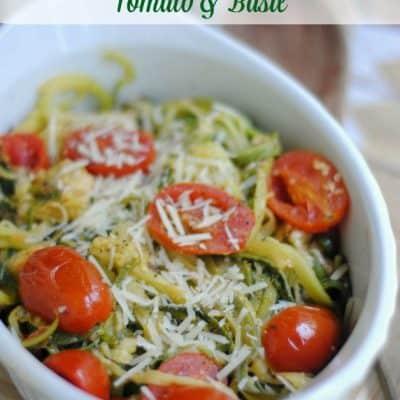 Keto Dinner Idea: Parmesan Zucchini Noodles with Tomato & Basil