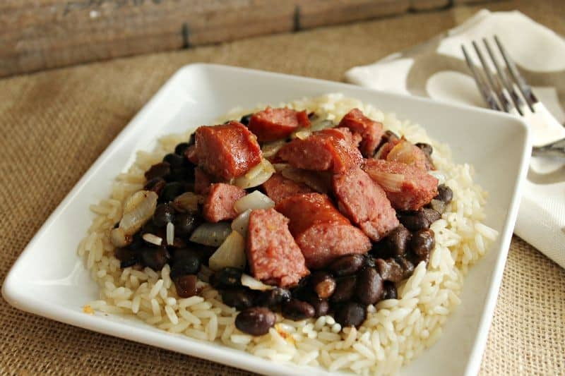 sausage with beans and rice horiz