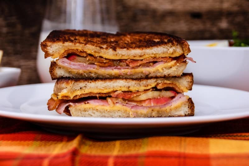 Ham, Bacon & Roasted Apple Grilled Cheese Sandwich-6
