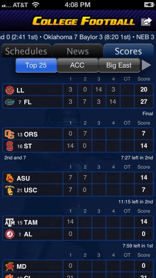 College Football Scoreboard Using Your Phone For F...