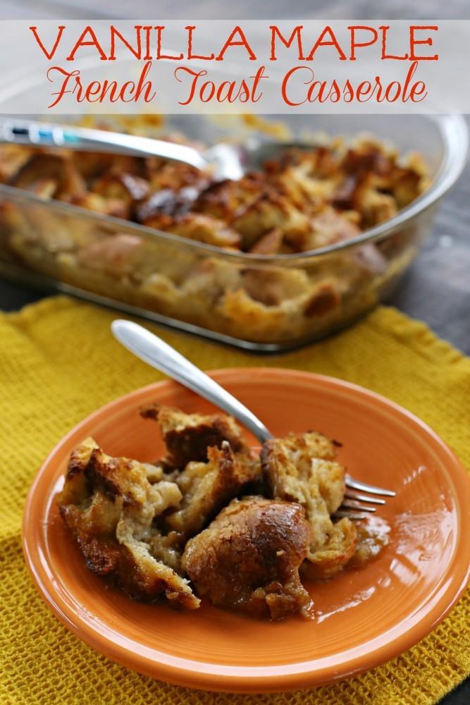 vanilla maple french toast casserole label