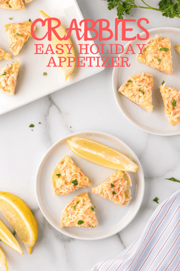 crab, cheese and english muffin appetizers on marble counter
