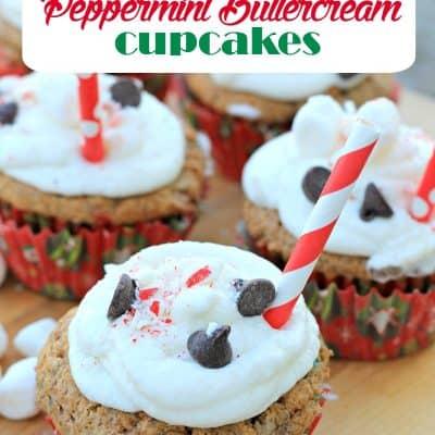 Peppermint Buttercream Hot Cocoa Cupcakes