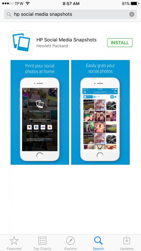 social media snapshots screenshot