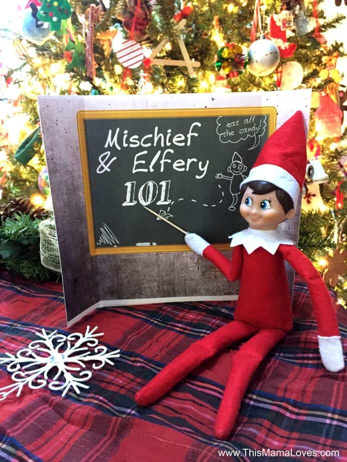 image relating to Elf on the Shelf Kissing Booth Free Printable called Uncomplicated Elf upon the Shelf printables This Mama Enjoys