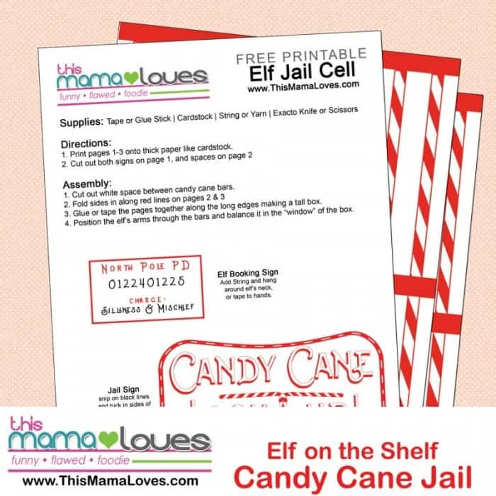 Free Elf on the Shelf Printable. Elf on the Shelf Candy Cane Jail Cell