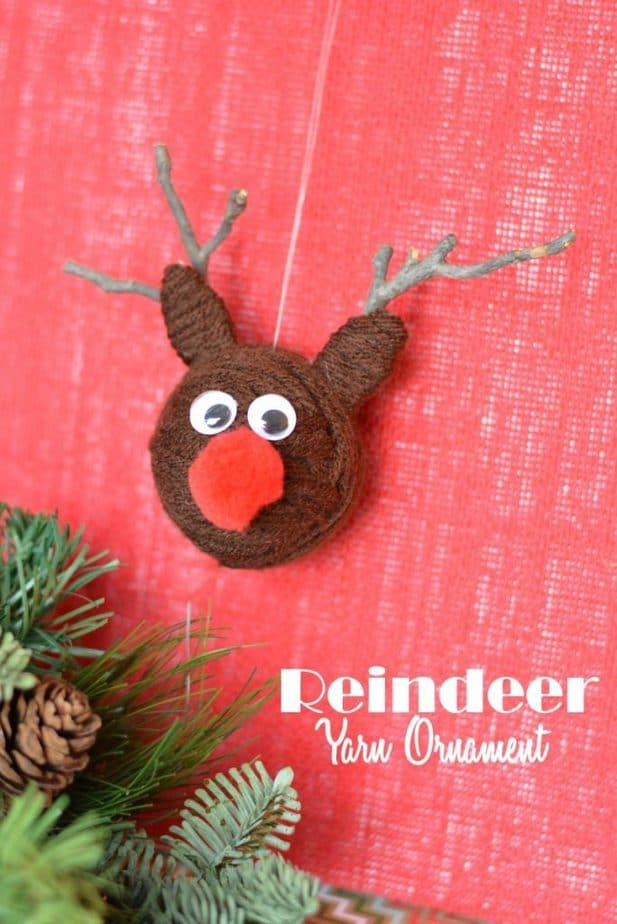 yarn ball reindeer ornaments label