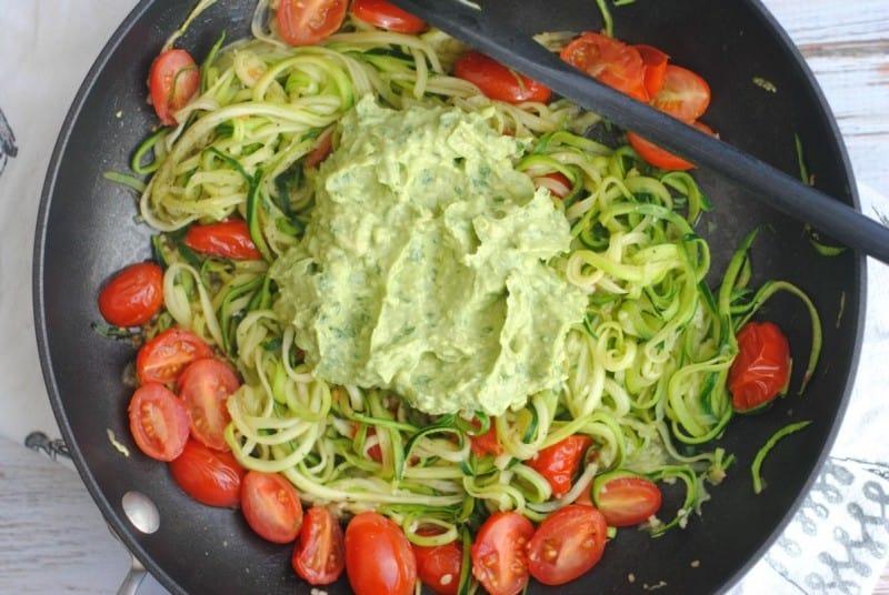 avocado-pesto-zoodles-pan