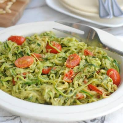 Avocado Pesto Zoodles: Vegetarian Keto Recipe