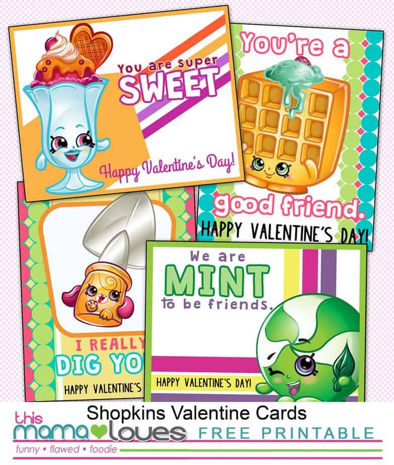 picture about Valentines Day Cards Printable referred to as Shopkins Valentines Working day Playing cards Printable This Mama Enjoys