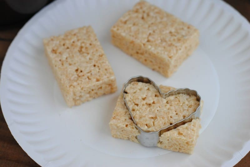 Valentine Krispies Treats cutting