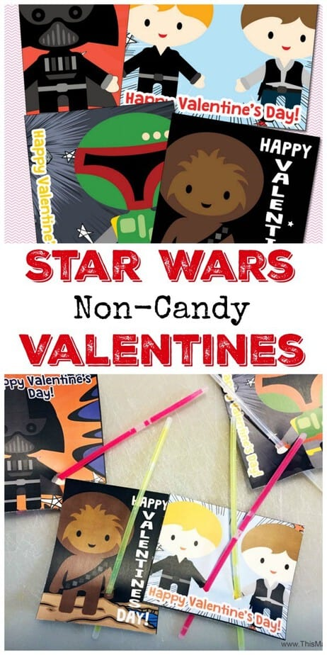 Star Wars Non Candy Valentines Light Saber Cards – Valentines Cards with Candy