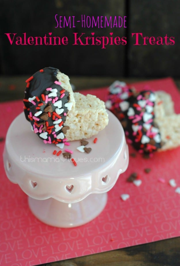 Semi-Homemade Valentine Rice Krispies Treats- This Mama Loves