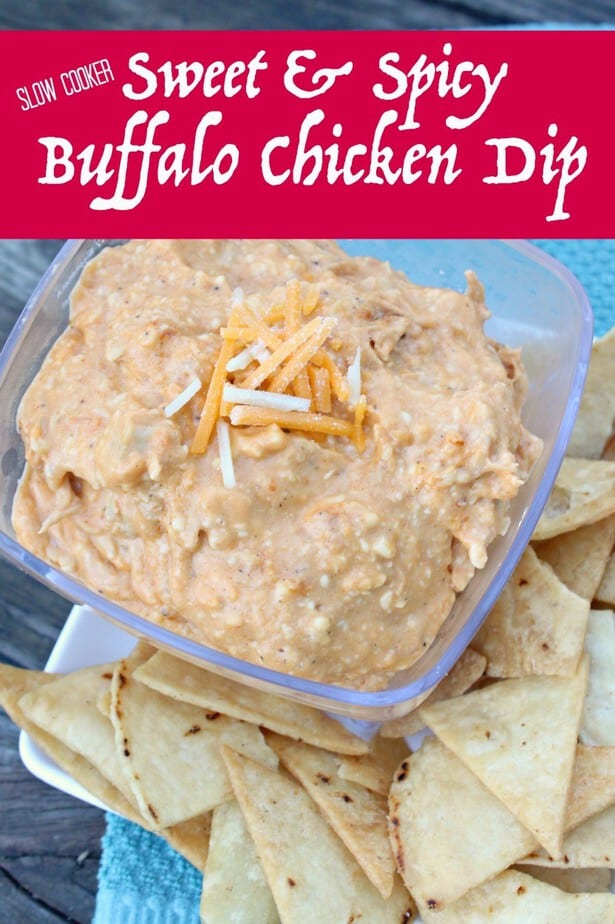 Slow Cooker Game Day Sweet & Spicy Buffalo Chicken Dip- This Mama Loves