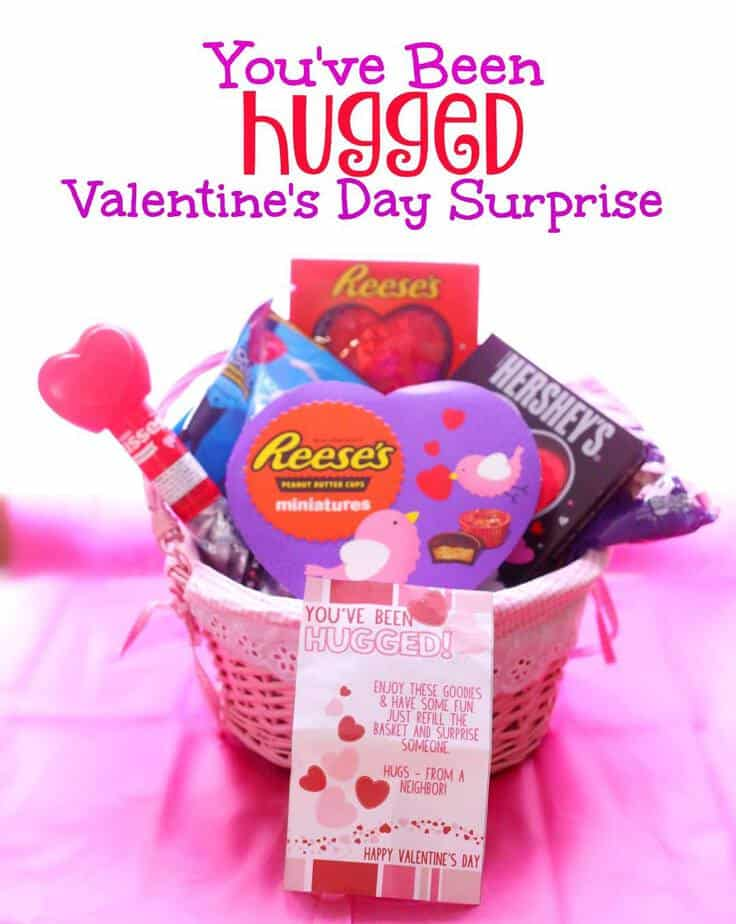 You've Been Hugged Valentine Surprise basket for friends and neighbors- This Mama Loves