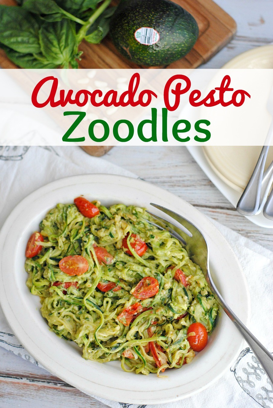 Avocado Pesto Zoodles Recipe- This Mama Loves