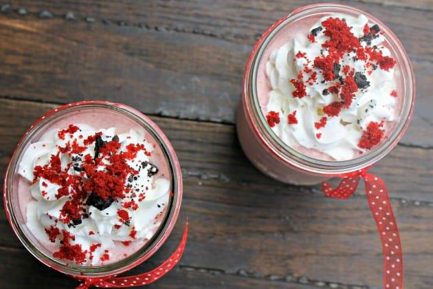 red velvet cookies and cream milkshake top