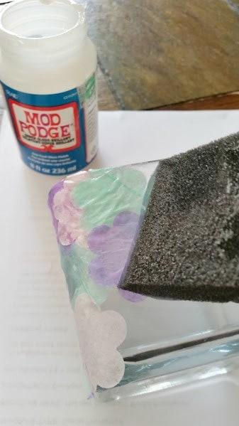Stained Glass Tissue Paper Vase mod podge