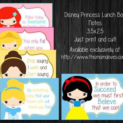 Printable Princess Lunch Box Notes