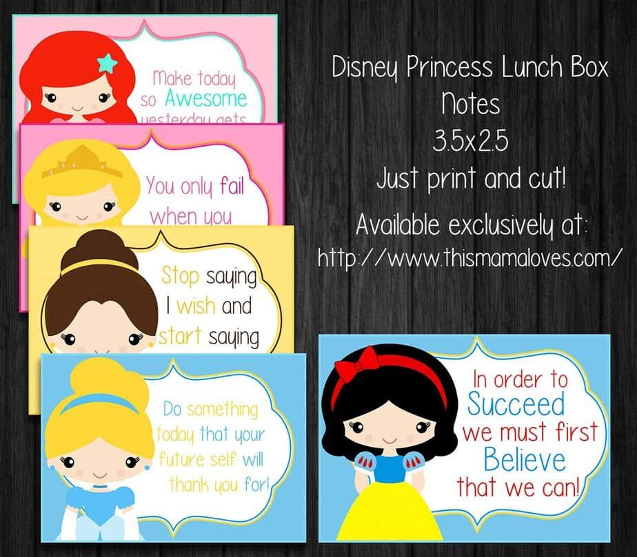 Disney Princess Lunch Box Notes- This Mama Loves