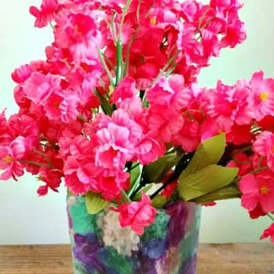 Stained Glass Tissue Paper Vase Craft for Mother's Day