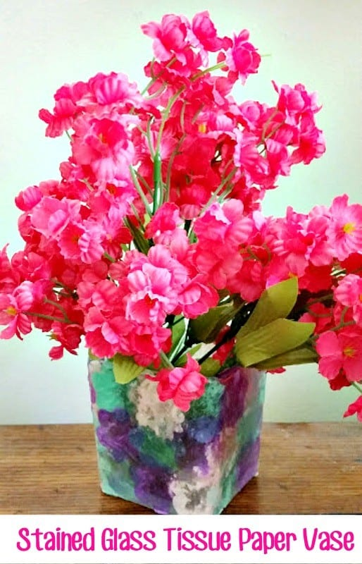 tissue paper vase craft mothers day hero