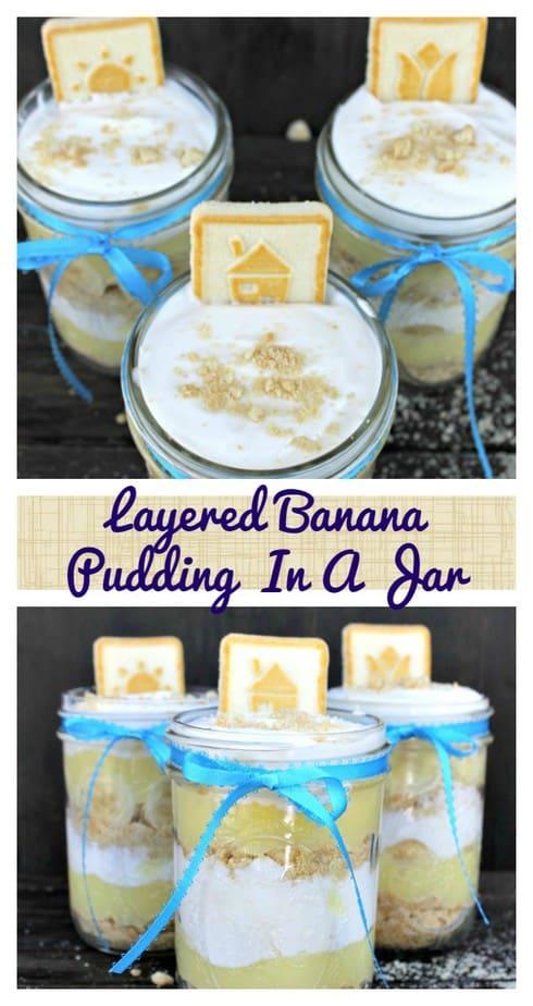 Layered Banana Pudding In A Jar pin