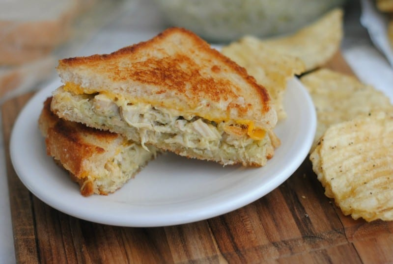 chicken pesto grilled cheese done