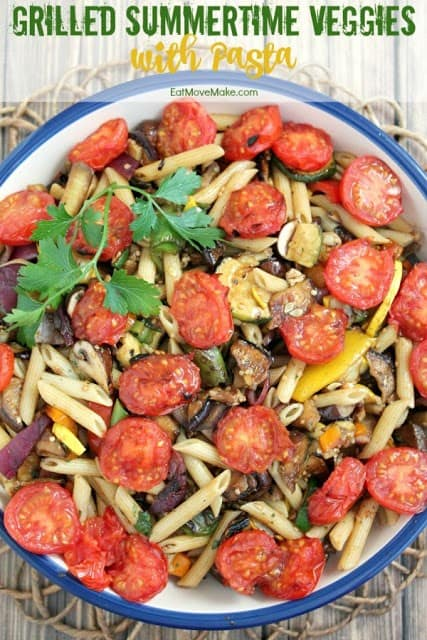 Grilled Summertime Vegetables with Pasta from Eat Move Make