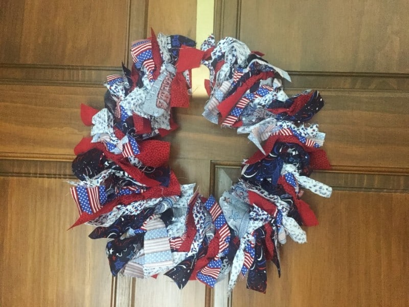 DIY Patriotic Rag Wreath Horizontal- This Mama Loves