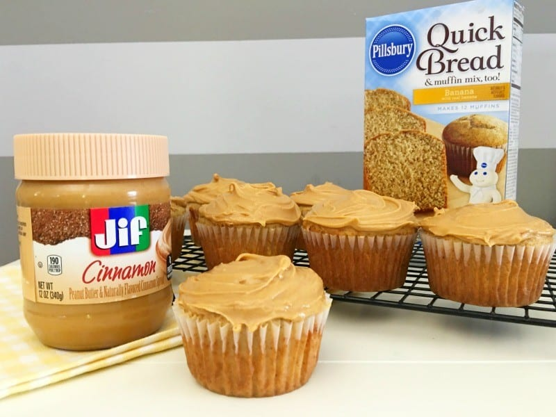banana breakfast cupcakes with cinamon peanut butter frosting